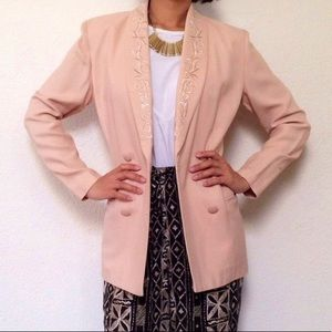 Peach Blazer with Embroidered Lapel